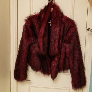 Maroon Faux Fur Jacket